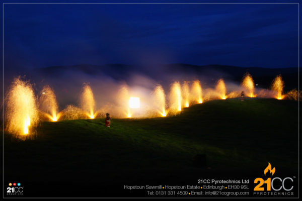 fountains for pipe bands by 21cc pyrotechnics
